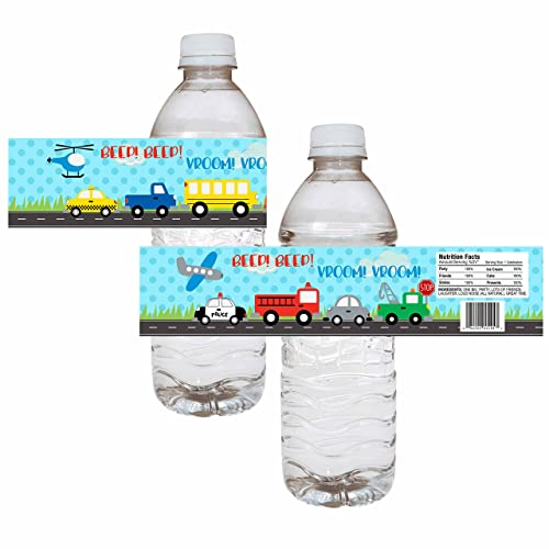 Transportation Party Water Bottle Labels Boy Birthday Baby Shower Drink Sticker Label Set Of 12