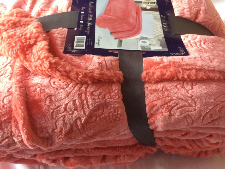 Luxus Soft Fuzzy Furry Shaggy Sherpa Borrego Fleece Bed Blanket Orange Peach