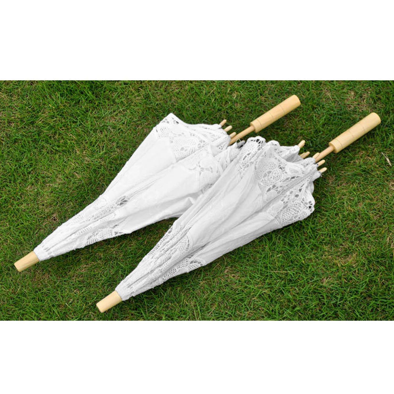 Blanco Gosear Plegable Sombrillas Encaje de Flores Chicas de Boda Nupcial de Partido de Sol Paraguas Decoracion de la Boda apoyos