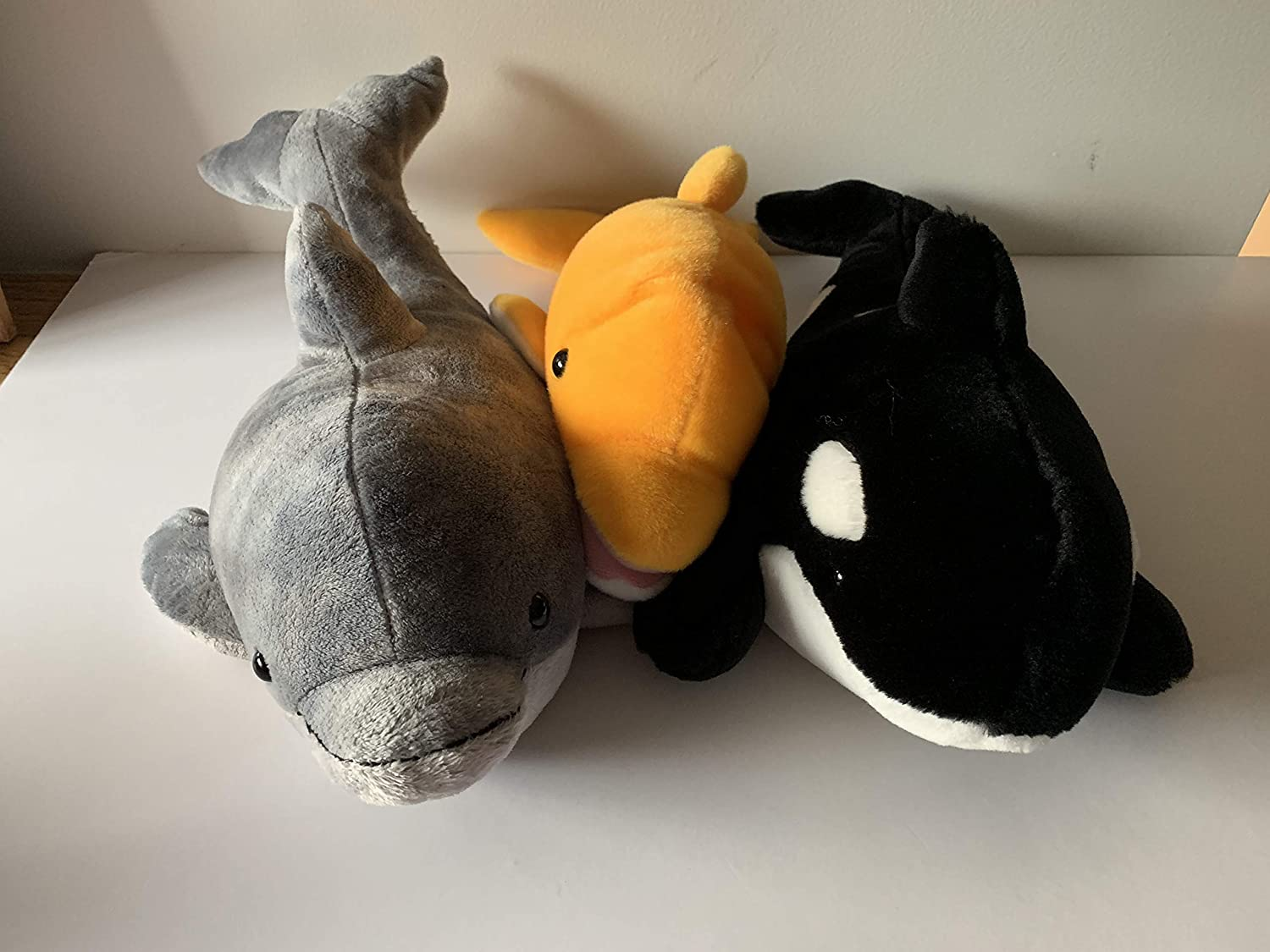 washable weighted fish WEIGHTED PLUSH DOLPHIN AND WHALE with 2 1//2 and 3 lbs
