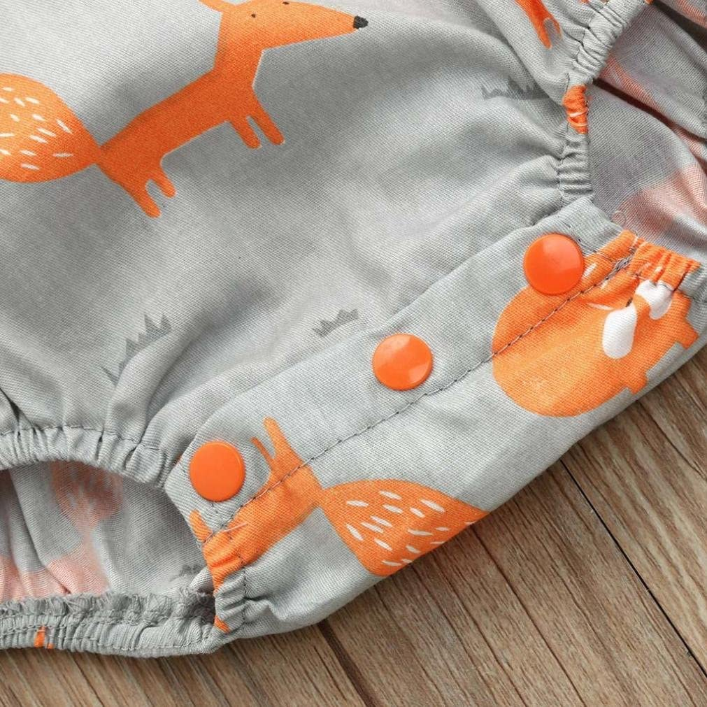Moonker Jumpsuit Newborn Infant Baby Boy Girl Cartoon Fox Print Sleeveless Backless Romper Onesies Sunsuit 0-24M