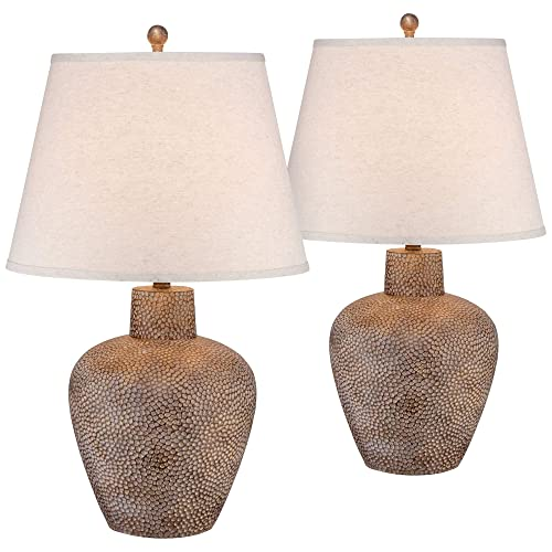 Bentley Rustic Table Lamps Set of 2 Hammered Pot Washed Brown Off White Empire Shade for Living Room Family Bedroom – Franklin Iron Works