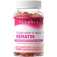 NeoCell Glam Hair and Nails Grass Fed Collagen Gummies with Keratin, Biotin, Bilberry Fruit Extract and Vitamin C, Mango Dragonfruit Flavor Collagen Supplements for Women, 60 Count