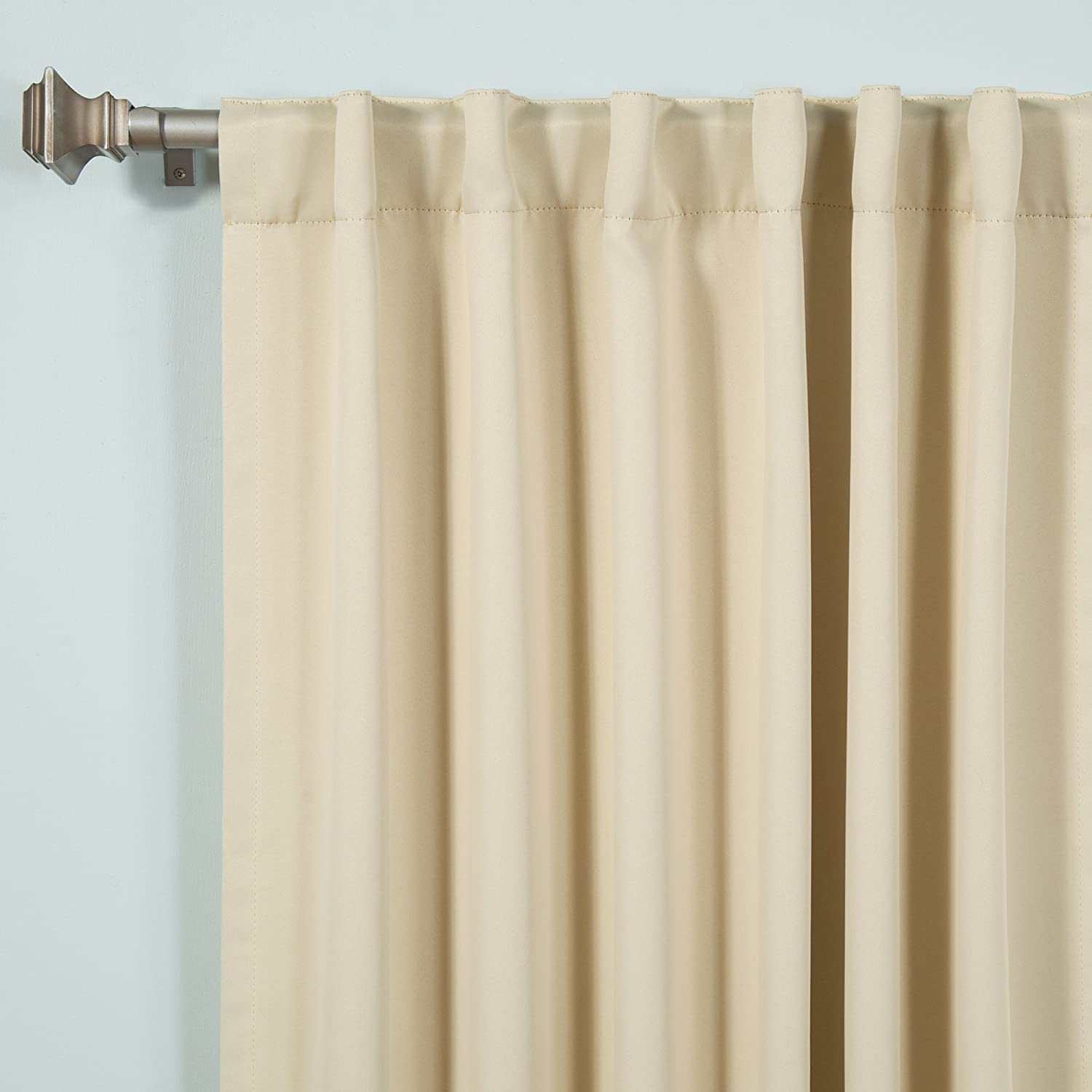 "Blackout Curtains - Back Tab/ Rod Pocket - Beige - 52""W x 63""L - (Set of 2 Panels"