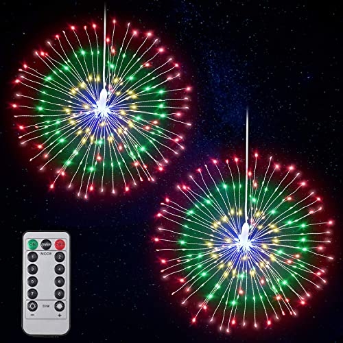 Firework Lights LED String Lights Fairy Decorative Twinkle Starburst Lights with Remote Control for Patio Party Indoor Home Decoration, 2 Pack Multicolor