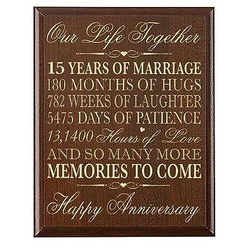 Amazon.com: LifeSong Milestones 15th Wedding Anniversary Gift for ...
