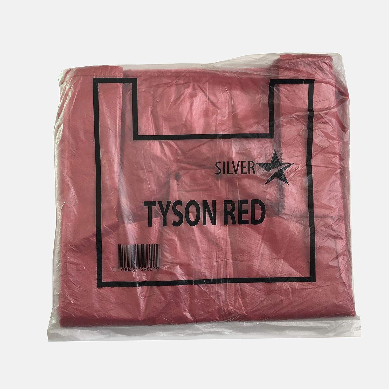 200 Tezraftaar/® Plastic Vest Carrier Bags 18MU Red 12 X 18 X 22