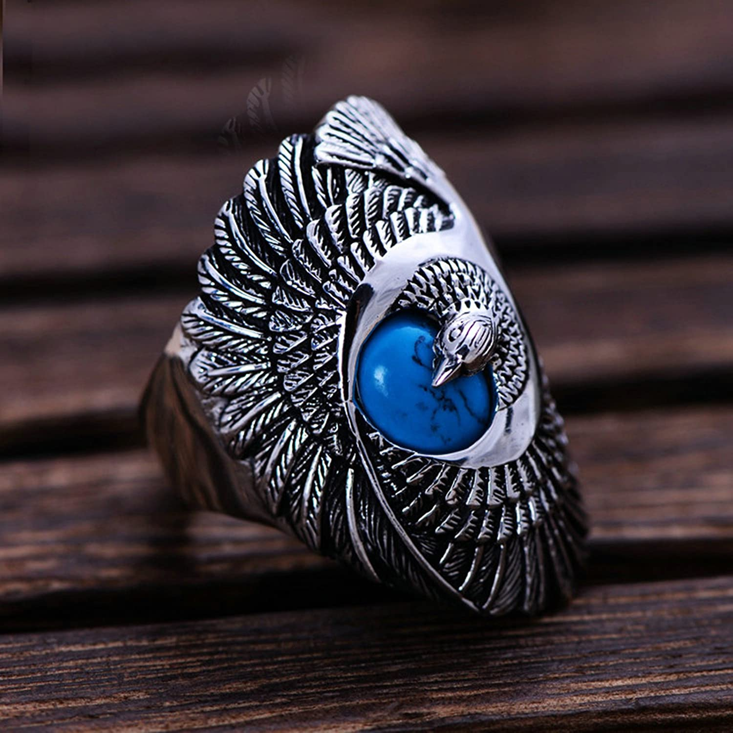 Bishilin Sterling Silver Mens Ring Eagle Friendship Anniversary Ring Silver Size 11