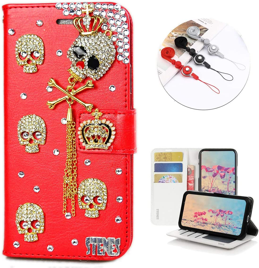 STENES Bling Wallet Phone Case Compatible with LG Tribute HD/LG X Style - Stylish - 3D Handmade Crown Skull Tassel Pendant Leather Cover with Neck Strap Lanyard [3 Pack] - Red