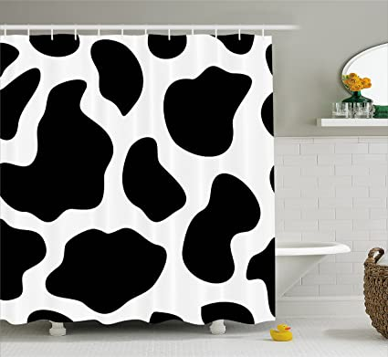 Ambesonne Cow Print Shower Curtain Hide Of A With Black Spots Abstract And Plain