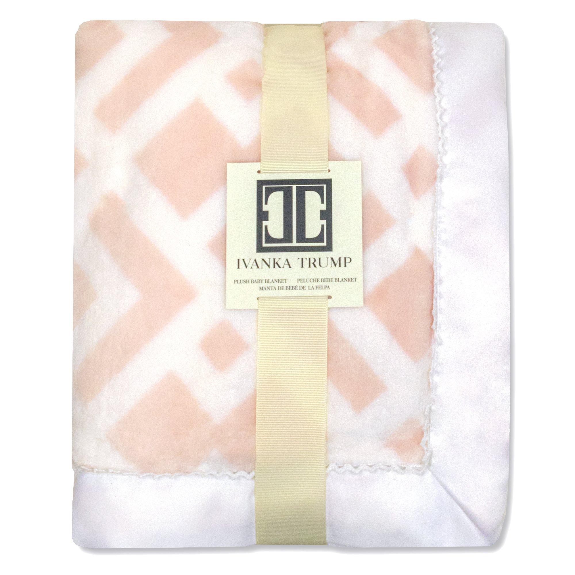 Ivanka Trump Wildflower Collection: Super Soft Plush Baby Blanket - Pink/White Trellis