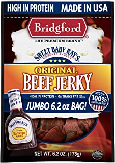 product image for Bridgford Sweet Baby Ray's Original Beef Jerky, High Protein, Zero Trans Fat, Made With 100% American Beef, 6.2 Oz, Pack of 3