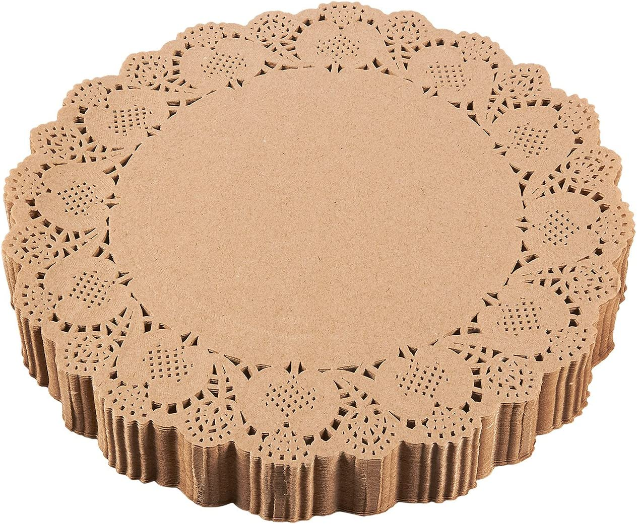 Paper Doilies – 250-Pack Round Lace Placemats for Cakes, Desserts, Baked Treat Display, Ideal for Weddings, Formal Event Decoration, Tableware Decor, Brown - 12 Inches in Diameter