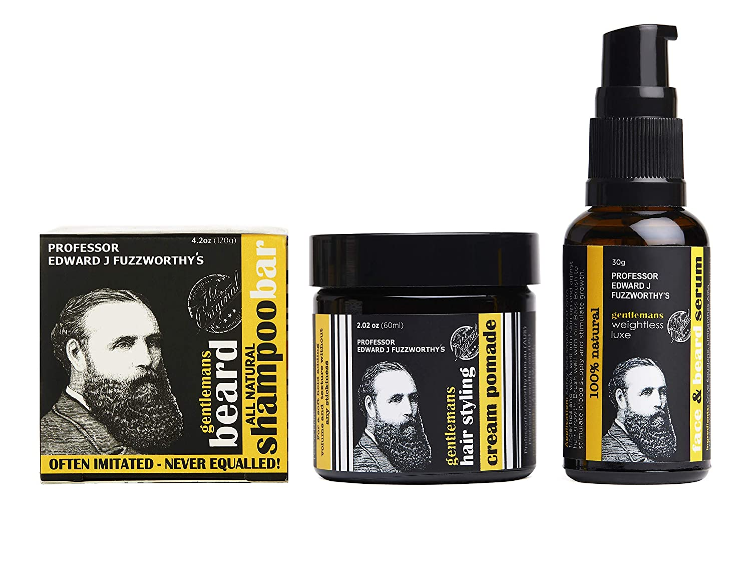 Limited Edition Professor Fuzzworthy Grooming NEW Products Gift Set | Beard SHAMPOO, Face & Beard Oil Serum & Gentlemans Beard & Hair Styling Cream Pomade | 100% Natural Essential Oils & Ingredients