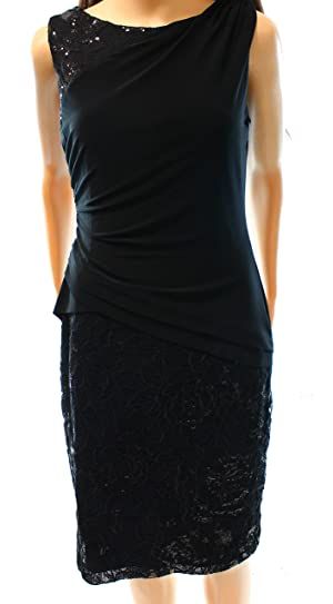 Lauren Ralph Lauren Women's Floral Lace Sheath Dress Black 8