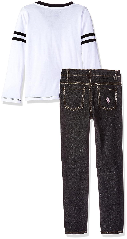 U.S Polo Assn Girls Puffer Vest Long Sleeve T-Shirt and Jean