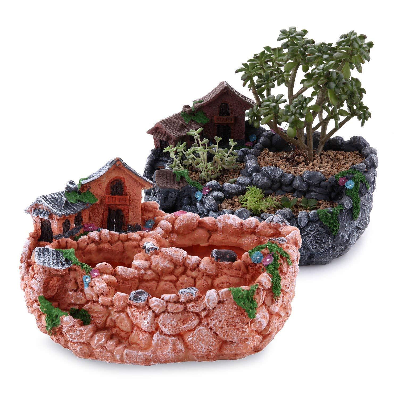 T4U 9'' Country Landscape Style House&Fields Sucuulent Cactus Plant Pots Flower Pots Planters DIY Containers Window Boxes Set of 2