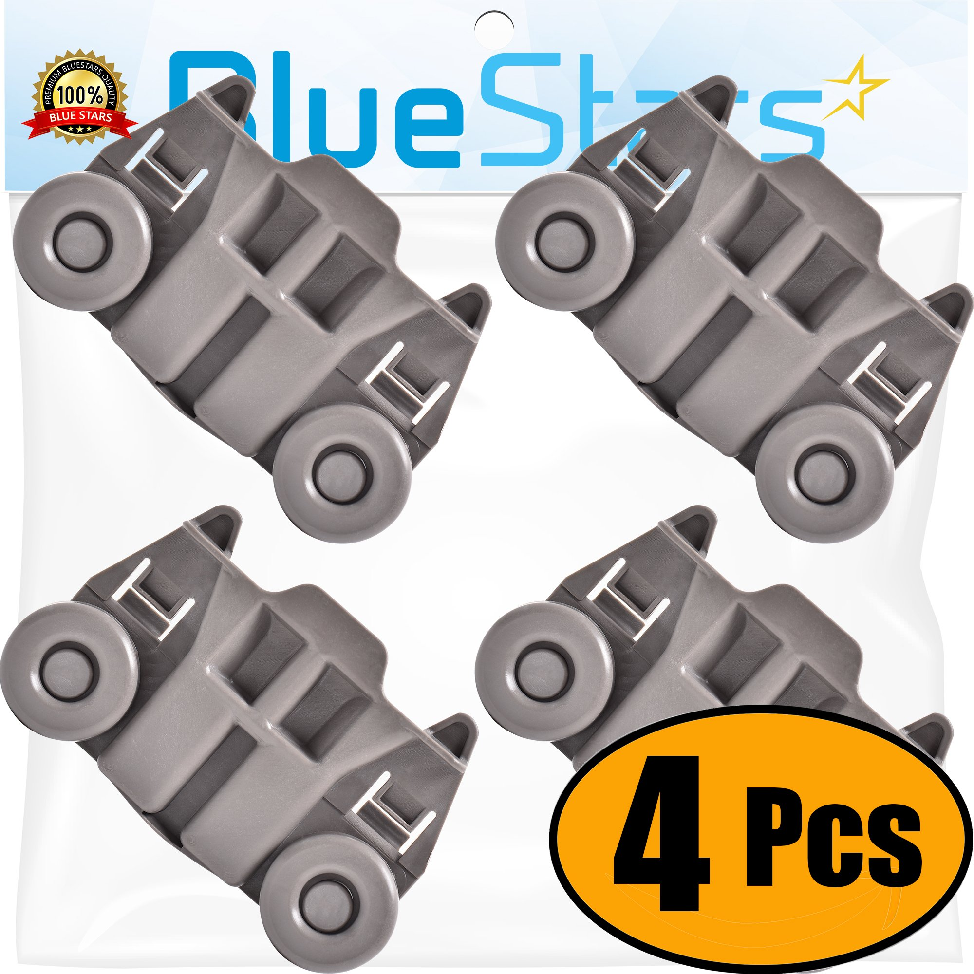 Ultra Durable W10195417 Dishwasher Track Replacement Part by Blue Stars – Exact Fit For Whirlpool & Kenmore Dishwashers – Replaces WPW10195417 WPW10195417VP - PACK OF 4
