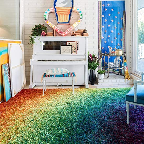 3 9 x 5 6 Multi Color Rainbow Shag Hippy Indoor Area Rug, Polyester Stripe Beautiful Pretty Colorful Hippie Faded Shaggy Comfortable Soft Fuzzy Plush Feel Rectangle Perfect Kids Tweens Accent Carpet