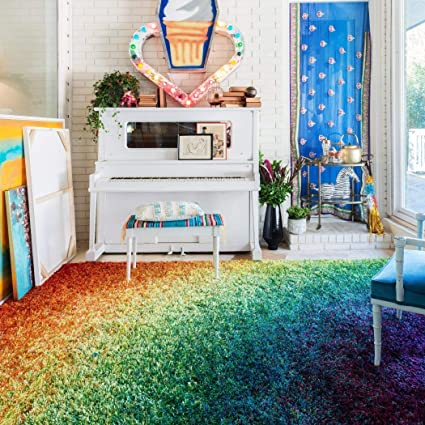 Amazon Com 3 9 X 5 6 Multi Color Rainbow Shag Hippy Indoor Area Rug