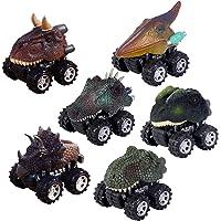 FLYING_WE Pull Back Dinosaur Cars Set de 6, Dino Cars Toys con Rueda de neumático Grande para Regalos creativos para niños de 3-14 años de Edad, niños niñas.