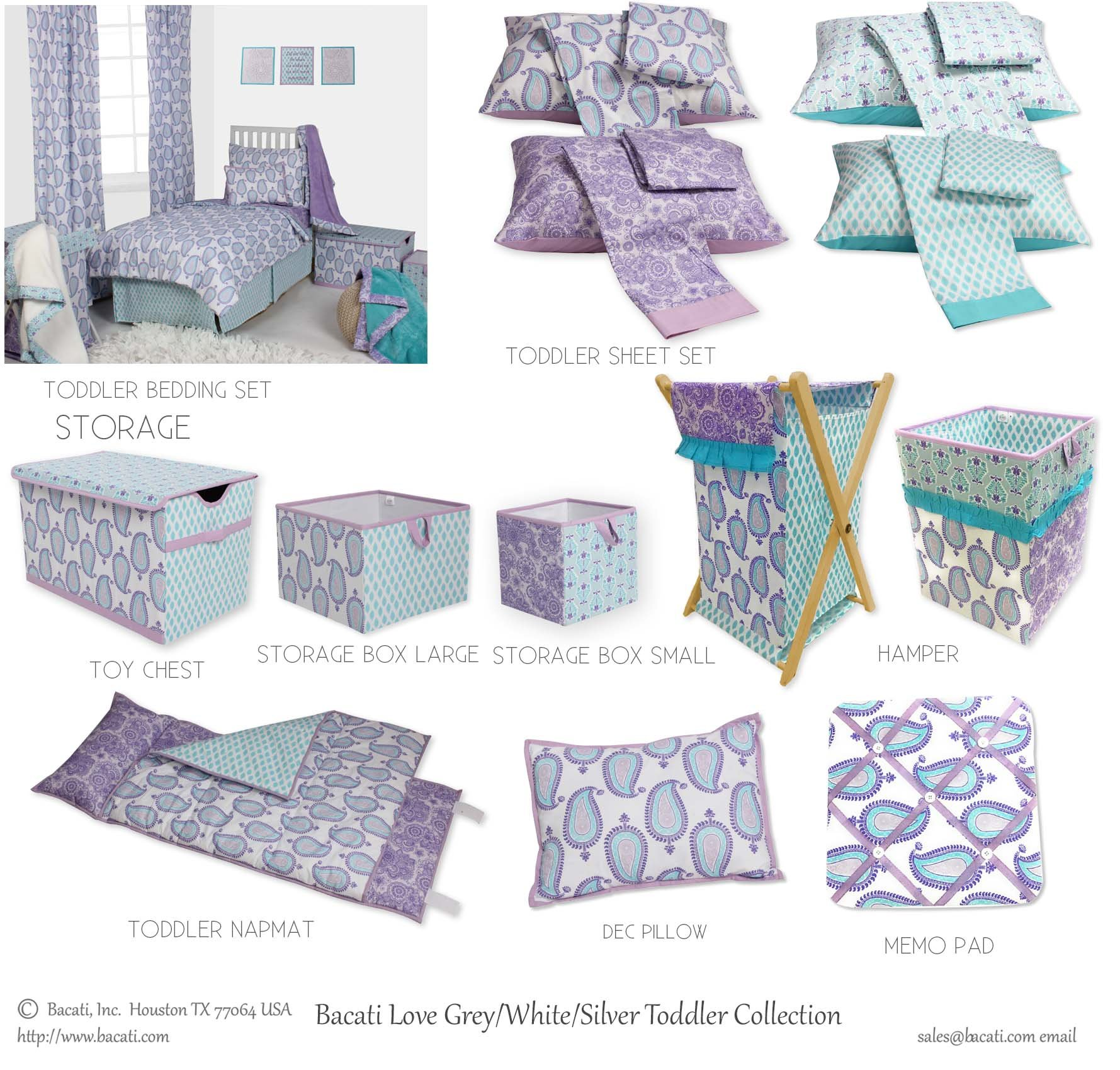 Bacati Isabella Girls Paisley Hamper Cover with Natural Finish Wood Frame and Mesh Liner, Lilac/Purple/Aqua