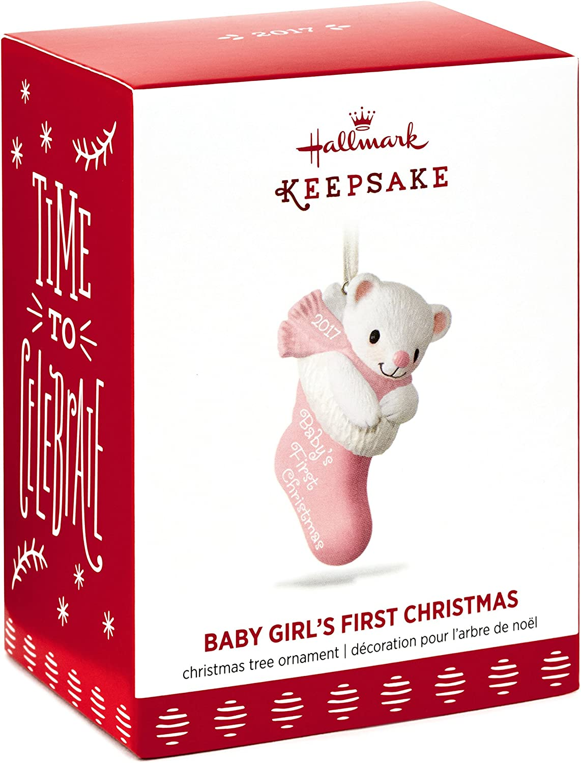 Girl/'s Pink Rocking Horse Baby/'s First Christmas Ornament 3.5 Inches