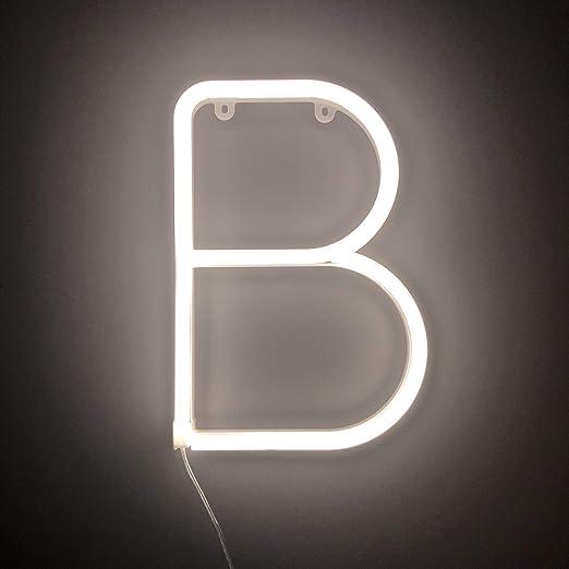 Smiling Faces Letrero luminoso de neón LED Letras blancas - Colgante de pared alimentado por batería - Letra B