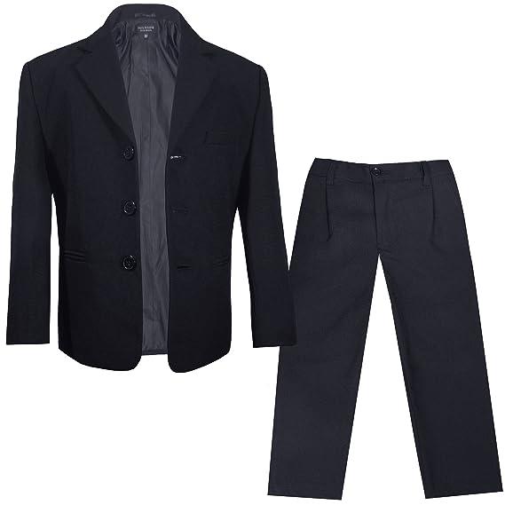 ff759f4a571641 Paul Malone - Kinder Anzug für Jungen festlich Sakko + Hose (tailliert)  schwarz