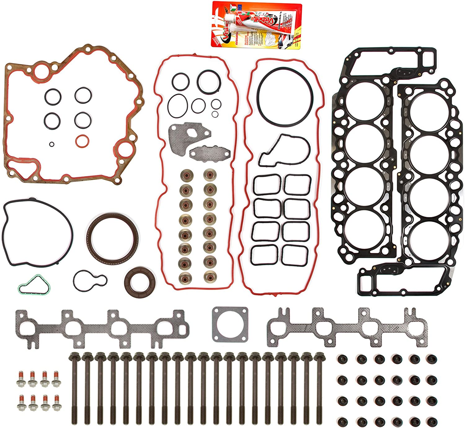 Compatible With 02-07 Dodge Ram Jeep Grand Cherokee 4.7 Full Gasket Set Head Bolts