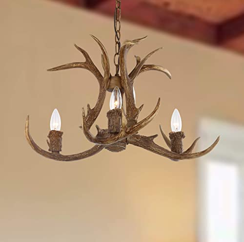 Safavieh CHA4002A Lighting Collection Makani 21.5 Antler Brown Chandelier,