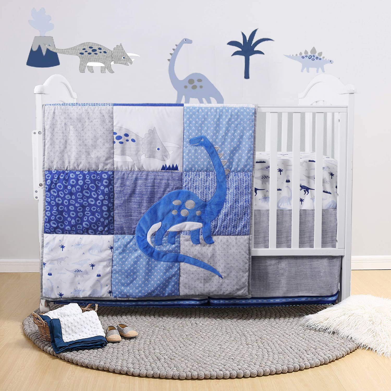 Dinosaur Crib Bedding Set   Navy/Blue/Grey with Embroidery   3 Piece Nursery Set for Boys Includes Crib Comforter, Fitted Crib Sheet, Crib Skirt