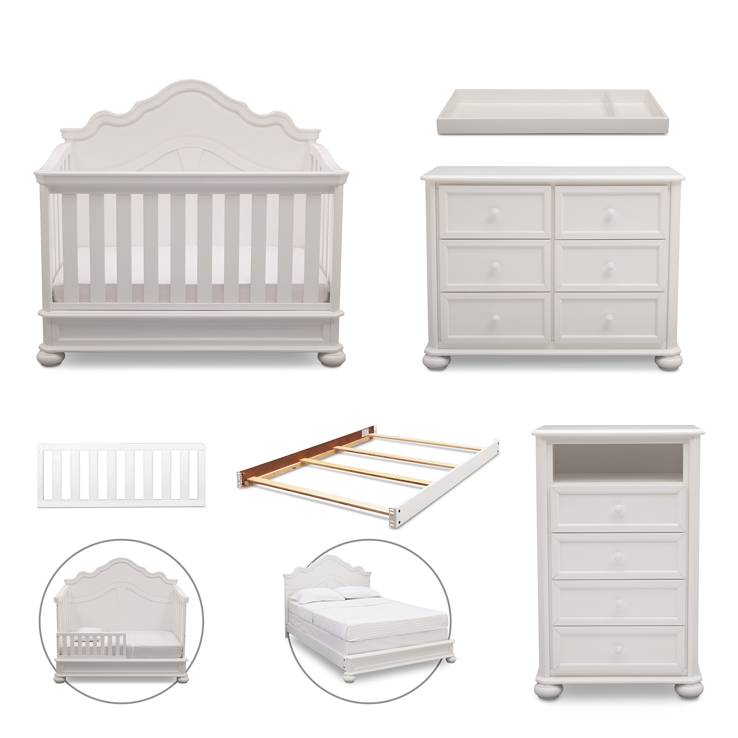 Simmons Kids Peyton 6-Piece Nursery Furniture Set (Convertible Crib, Dresser, Chest, Changing Top, Toddler Guardrail, Full Size Conversion), Bianca White by Delta Children (Image #1)