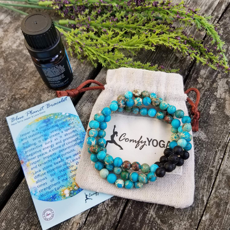 Womens Howlite Turuoise /& Wood grain jasper healing bracelet