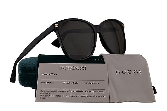 3d57d6b40dd Gucci GG0024S Sunglasses Black w Gray Lens 001 GG 0024S  Amazon.co.uk   Clothing