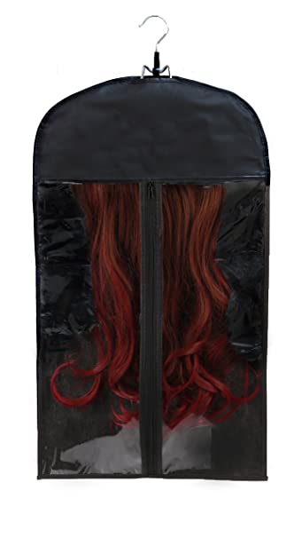 Amazon premium quality hair extensions storage bag with premium quality hair extensions storage bag with wooden hanger carrier case with strong durable pmusecretfo Image collections
