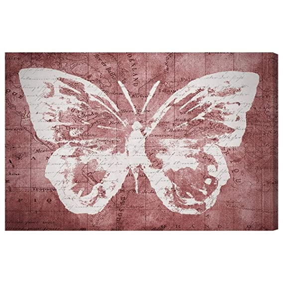 Amazon.com: Oliver Gal Marsala Butterfly Canvas Art 24x16: Posters & Prints