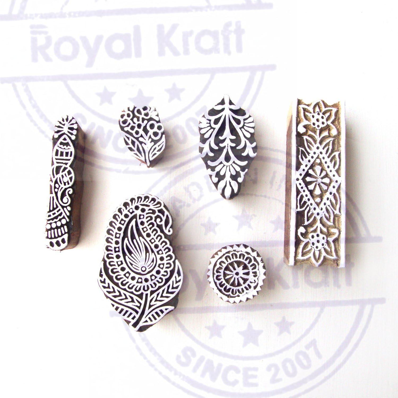 Set di 6 Royal Kraft Intagliato Mano Paisley e Foglia Designs Legna Timbri Blocchi