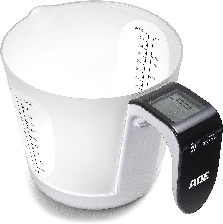 ADE Báscula digital de cocina con vaso medidor KE919 Franca. Balanza electrónica de cocina especialmente para pesar y medir liquidos. Vaso extraíble. Incluye baterias.Blanco y negro