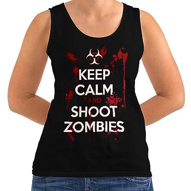 e790ec7c Keep Calm Shoot Zombie Women S Tank Top | Wellcoda: Amazon.co.uk: Clothing