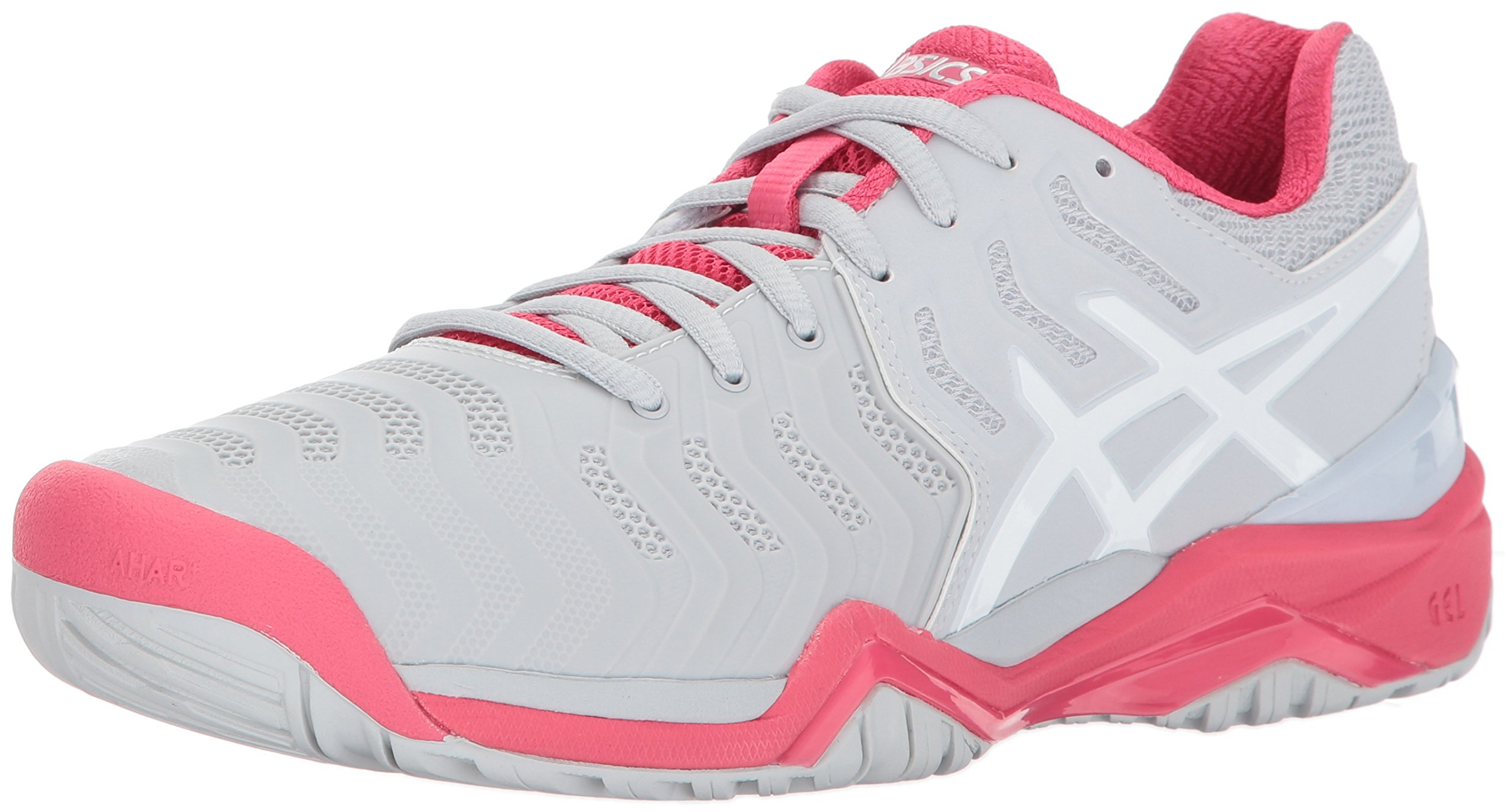 ASICS Women's Gel-Resolution 7 Tennis-Shoes, Glacier Grey/White/Rouge Red, 8.5 Medium US