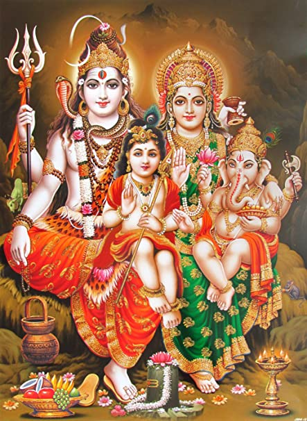 Avercart Lord Shiva with Parvati Ganesh and Kartikey Poster 30x40 cm  Unframed