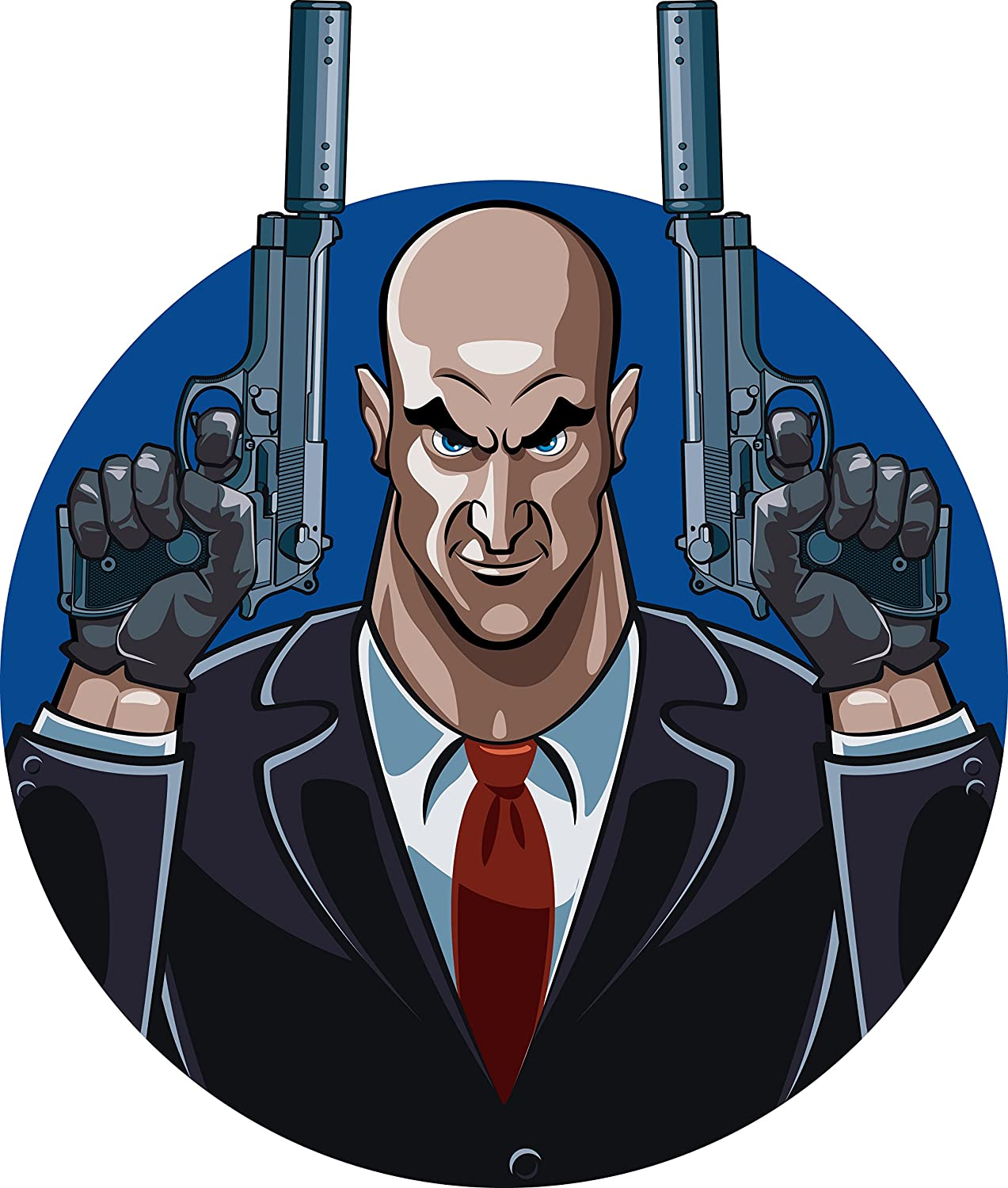 Amazon Com Bald Hitman In Business Suit And Two Silent Guns