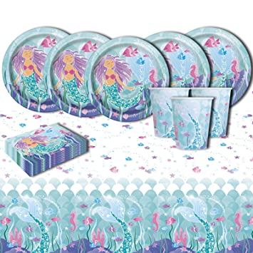 Mágico Sirena Infantil Cumpleaños Parte de la vajilla ...