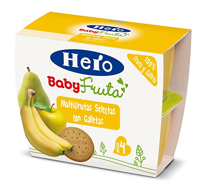 Hero Baby Fruta Multifrutas Selectas con Galletas Pack de 4 x 100 g