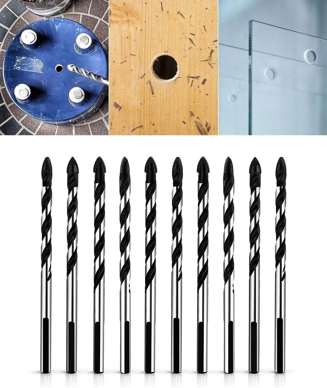 pl/ástico y madera ladrillo Juego de brocas multimaterial para azulejos hormig/ón vidrio 10 unidades, 8 mm QWORK