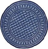 "Block Print Round Cotton Tablecloth 72"" Indigo Blue"