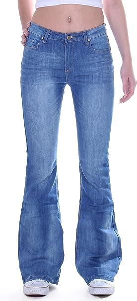 Damen Denim Bootcut Schlaghose Jeans Hose Breites Bein Lange Hüftjeans Hüfthose