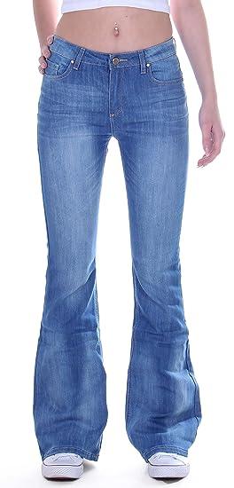 Größe 40 7bda2 34eb1 Style-Station24 Damen Jeans, Schlag Hose, Schlagjeans, Marlene Hüftjeans in  blau