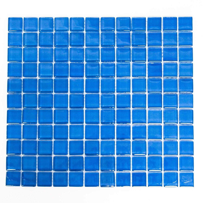 Glasmosaik blau Fliesenspiegel K/üche R/ückwand Bord/üre Duschwand XCM 8031